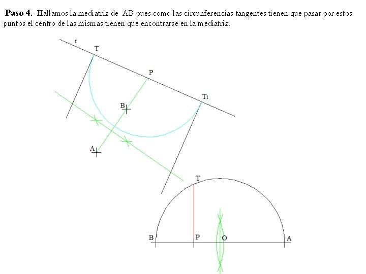 Paso 4. - Hallamos la mediatriz de AB pues como las circunferencias tangentes tienen