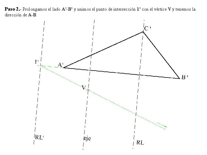 Paso 2. - Prolongamos el lado A'-B' y unimos el punto de intersección 1'
