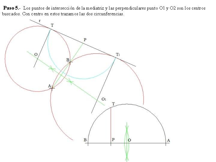 Paso 5. - Los puntos de intersección de la mediatriz y las perpendiculares punto