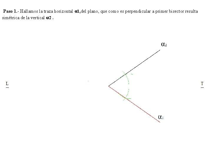 Paso 1. - Hallamos la traza horizontal α 1, del plano, que como es
