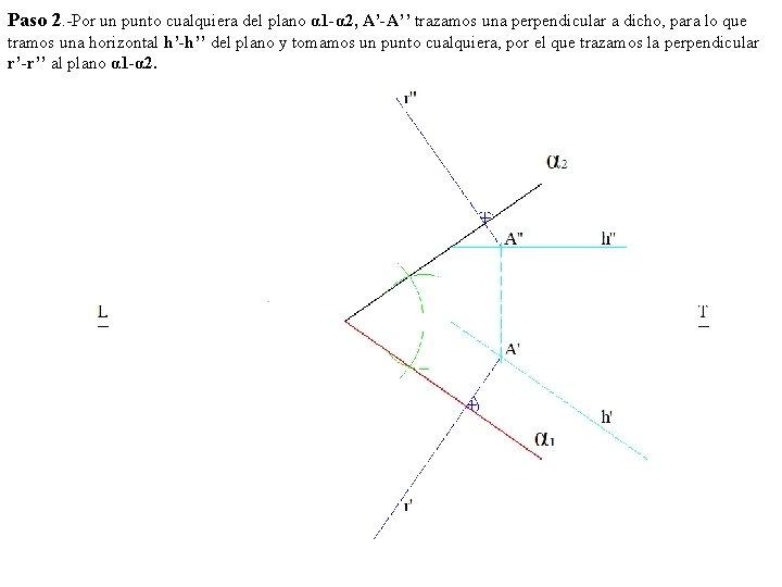 Paso 2. -Por un punto cualquiera del plano α 1 -α 2, A'-A'' trazamos