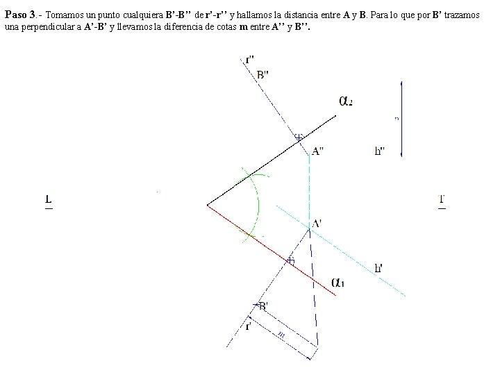 Paso 3. - Tomamos un punto cualquiera B'-B'' de r'-r'' y hallamos la distancia