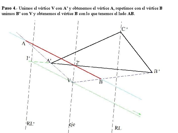 Paso 4. - Unimos el vértice V con A' y obtenemos el vértice A,