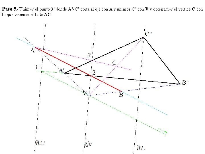 Paso 5. - Unimos el punto 3' donde A'-C' corta al eje con A