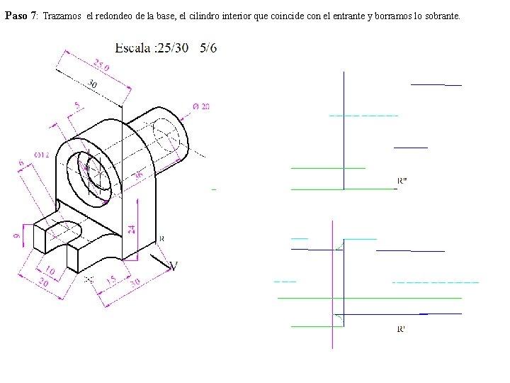 Paso 7: Trazamos el redondeo de la base, el cilindro interior que coincide con