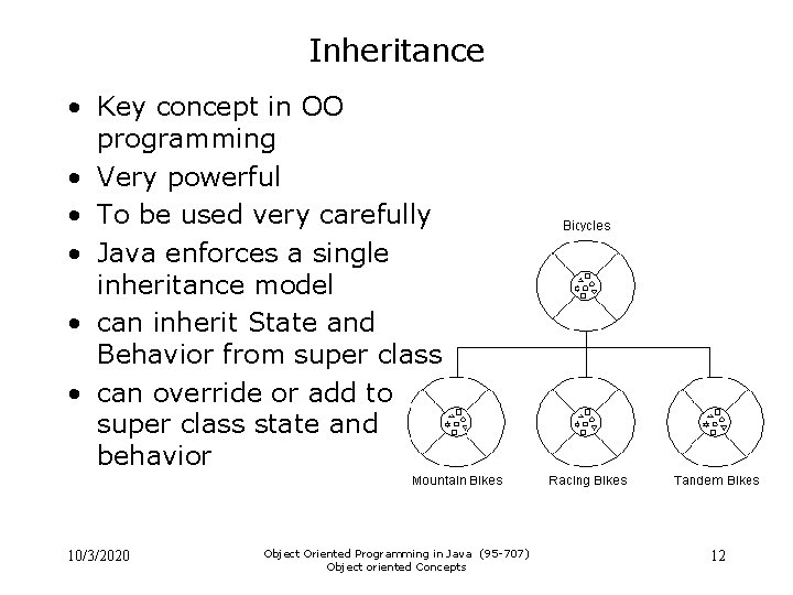 Inheritance • Key concept in OO programming • Very powerful • To be used