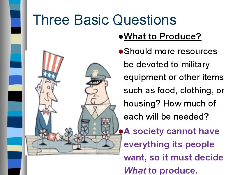Three Basic Questions ●What to Produce? ●Should more resources be devoted to military equipment