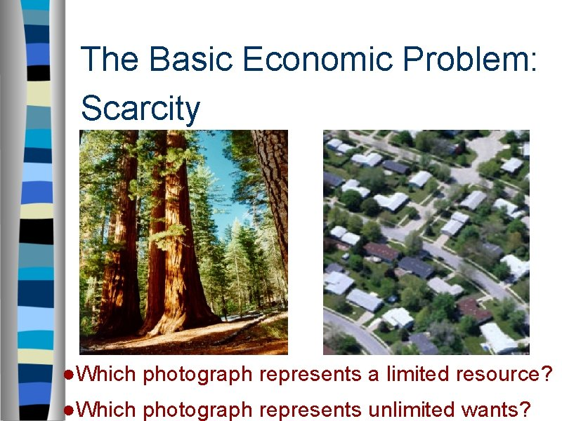 The Basic Economic Problem: Scarcity ●Which photograph represents a limited resource? ●Which photograph represents