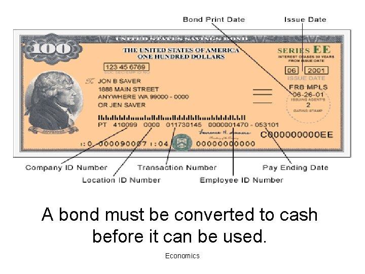 A bond must be converted to cash before it can be used. Economics