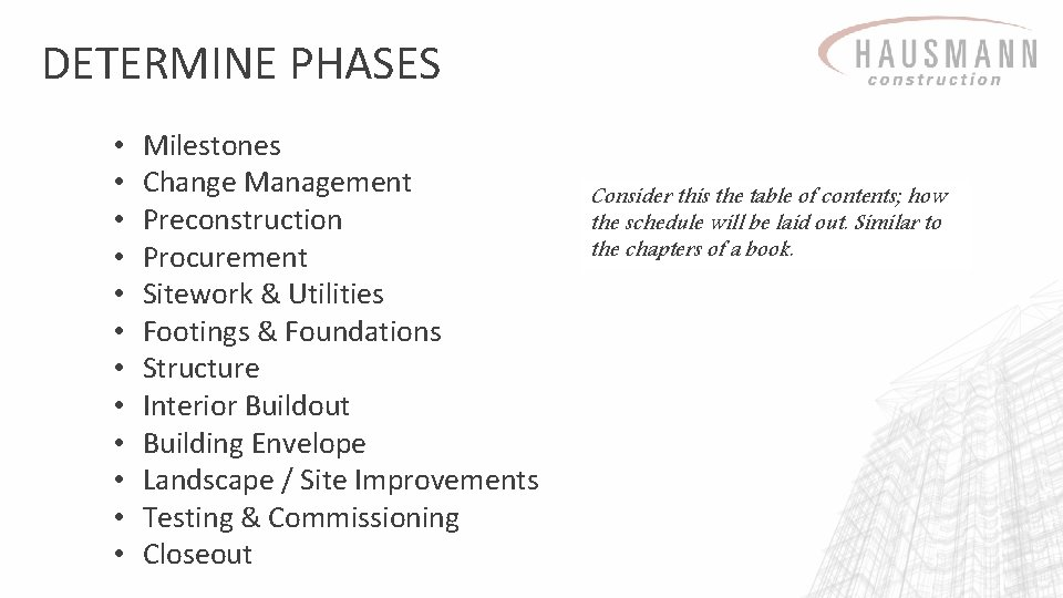 DETERMINE PHASES • • • Milestones Change Management Preconstruction Procurement Sitework & Utilities Footings