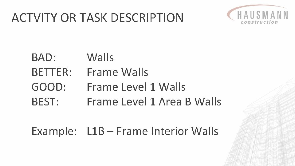 ACTVITY OR TASK DESCRIPTION BAD: BETTER: GOOD: BEST: Walls Frame Level 1 Area B