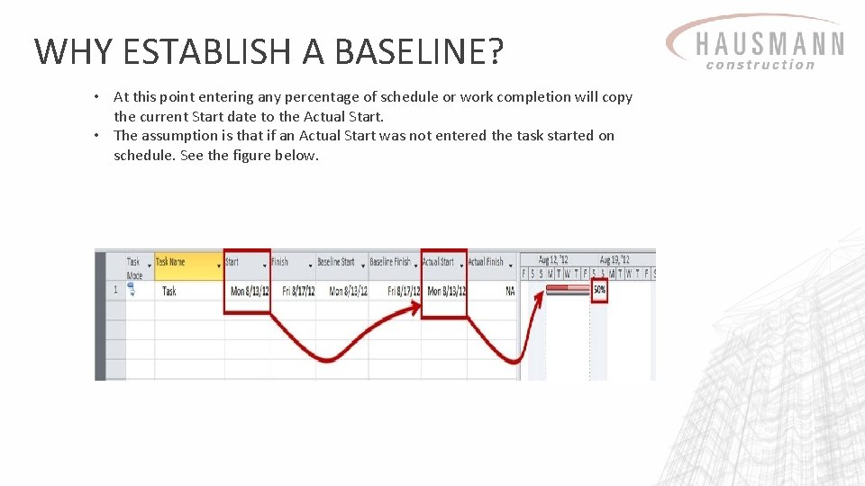 WHY ESTABLISH A BASELINE? • At this point entering any percentage of schedule or