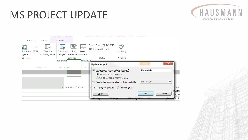 MS PROJECT UPDATE