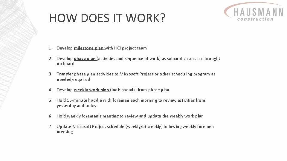 HOW DOES IT WORK? 1. Develop milestone plan with HCI project team 2. Develop