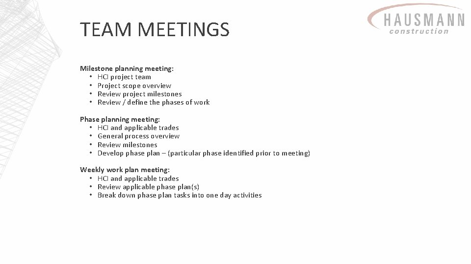 TEAM MEETINGS Milestone planning meeting: • HCI project team • Project scope overview •