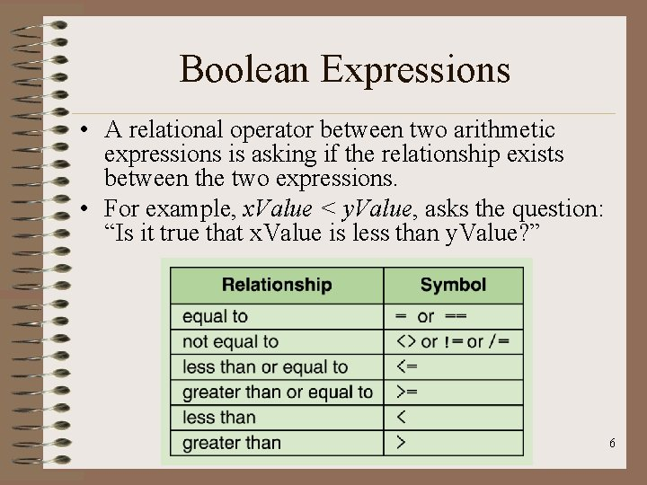 Boolean Expressions • A relational operator between two arithmetic expressions is asking if the