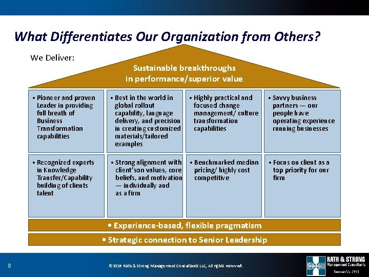 What Differentiates Our Organization from Others? We Deliver: Sustainable breakthroughs in performance/superior value •