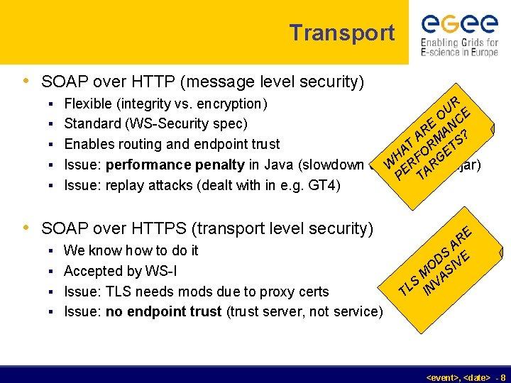 Transport • SOAP over HTTP (message level security) § Flexible (integrity vs. encryption) UR