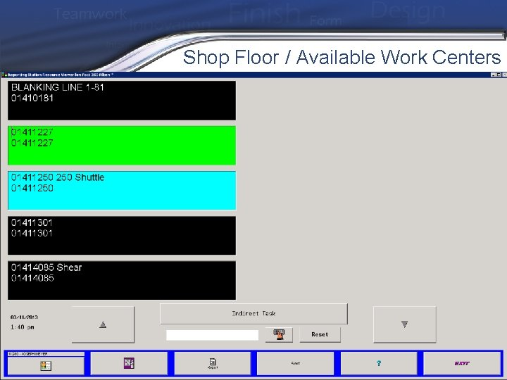 Shop Floor / Available Work Centers