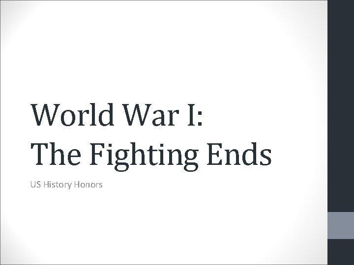 World War I: The Fighting Ends US History Honors