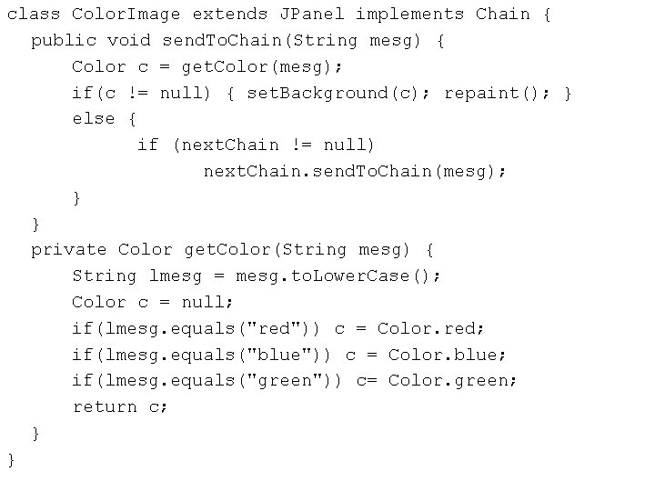 class Color. Image extends JPanel implements Chain { public void send. To. Chain(String mesg)