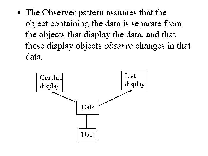• The Observer pattern assumes that the object containing the data is separate