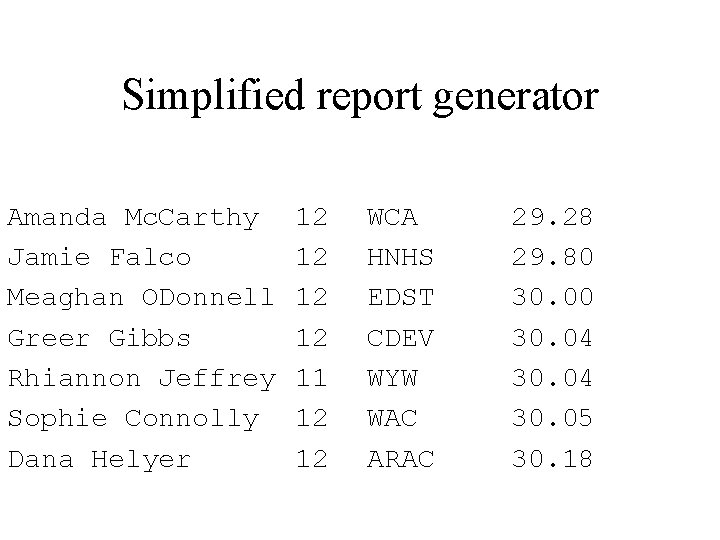Simplified report generator Amanda Mc. Carthy Jamie Falco Meaghan ODonnell Greer Gibbs Rhiannon Jeffrey