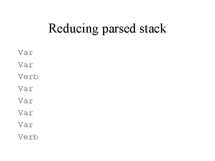 Reducing parsed stack Var Verb Var Var Verb