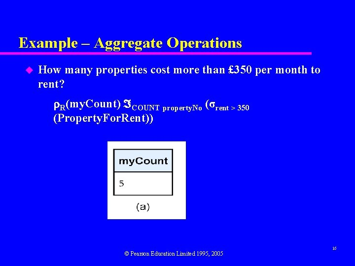 Example – Aggregate Operations u How many properties cost more than £ 350 per