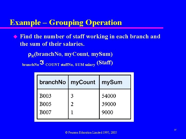 Example – Grouping Operation u Find the number of staff working in each branch