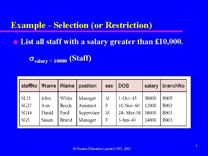 Example - Selection (or Restriction) u List all staff with a salary greater than