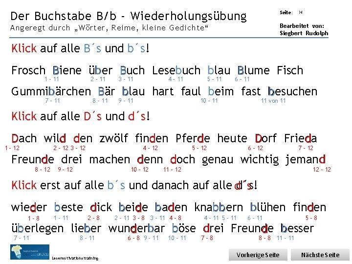 Übungsart: Der Buchstabe B/b - Wiederholungsübung Seite: 34 Bearbeitet von: Siegbert Rudolph Angeregt durch