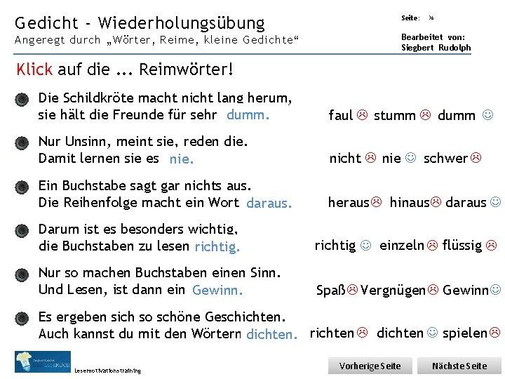 """Übungsart: Gedicht - Wiederholungsübung Seite: 36 Bearbeitet von: Siegbert Rudolph Angeregt durch """"Wörter, Reime,"""