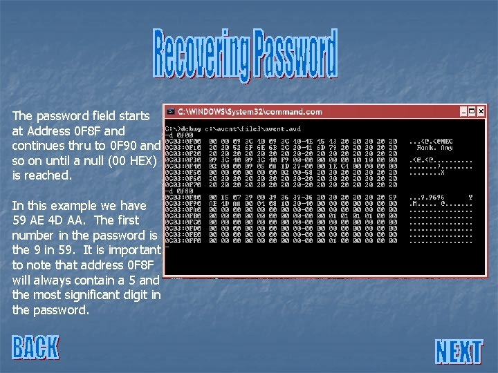 The password field starts at Address 0 F 8 F and continues thru to