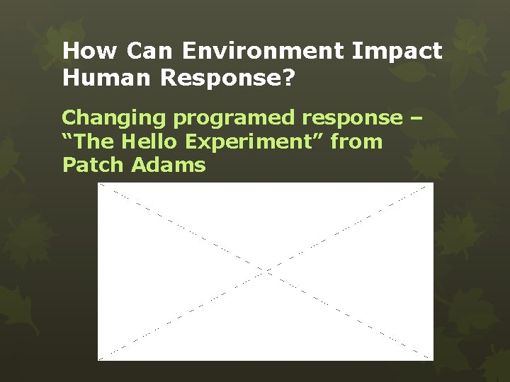 """How Can Environment Impact Human Response? Changing programed response – """"The Hello Experiment"""" from"""