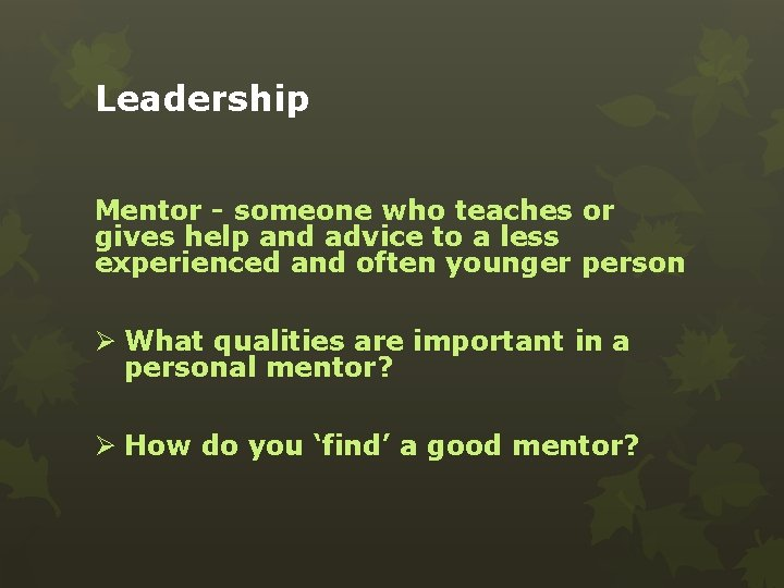 Leadership Mentor - someone who teaches or gives help and advice to a less