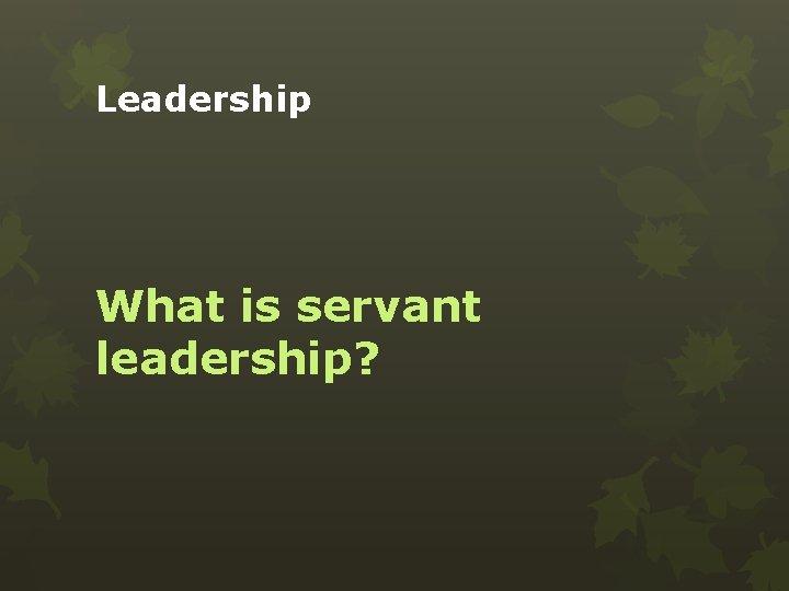 Leadership What is servant leadership?