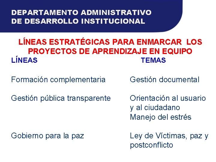 DEPARTAMENTO ADMINISTRATIVO DE DESARROLLO INSTITUCIONAL LÍNEAS ESTRATÉGICAS PARA ENMARCAR LOS PROYECTOS DE APRENDIZAJE EN