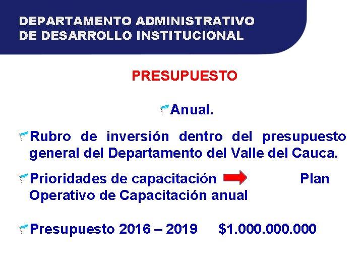 DEPARTAMENTO ADMINISTRATIVO DE DESARROLLO INSTITUCIONAL PRESUPUESTO Anual. Rubro de inversión dentro del presupuesto general