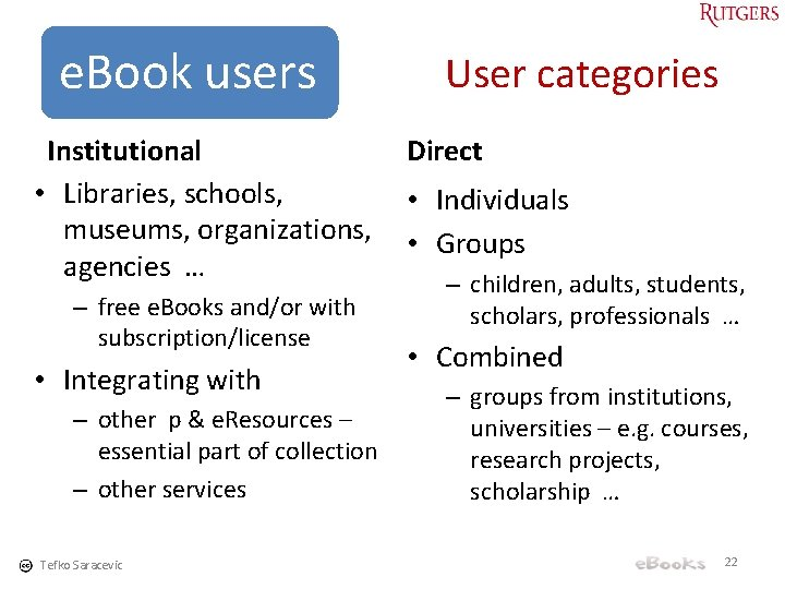 e. Book users Institutional • Libraries, schools, museums, organizations, agencies … – free e.