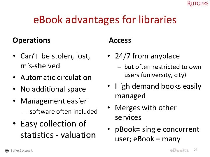 e. Book advantages for libraries Operations Access • Can't be stolen, lost, mis-shelved •