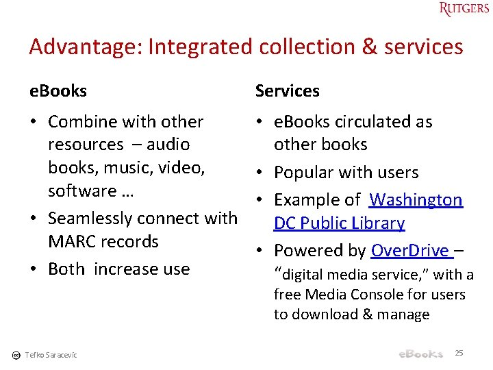 Advantage: Integrated collection & services e. Books Services • Combine with other resources –