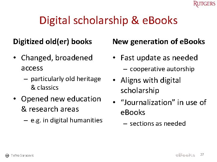 Digital scholarship & e. Books Digitized old(er) books New generation of e. Books •