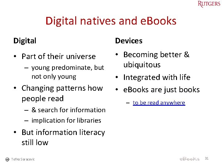Digital natives and e. Books Digital Devices • Part of their universe • Becoming