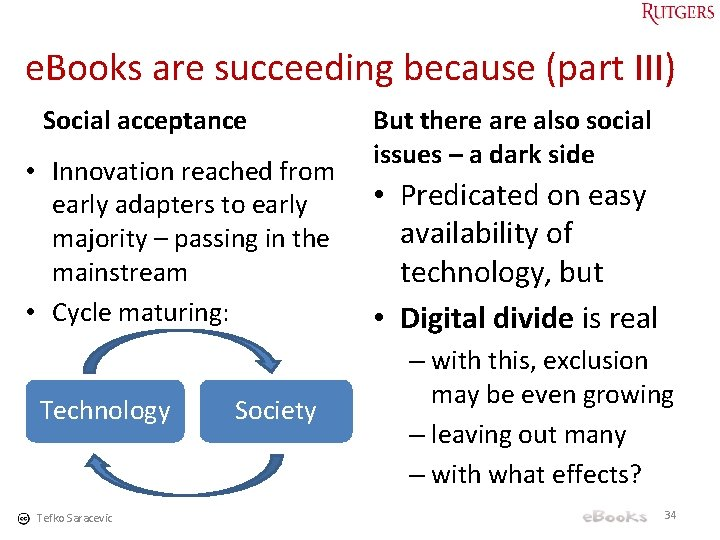 e. Books are succeeding because (part III) Social acceptance • Innovation reached from early