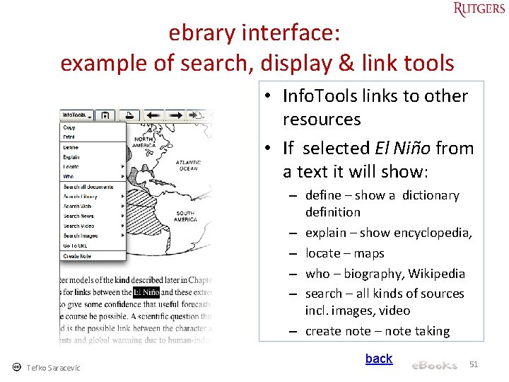 ebrary interface: example of search, display & link tools • Info. Tools links to