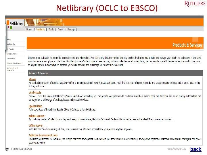 Netlibrary (OCLC to EBSCO) Tefko Saracevic 52 back