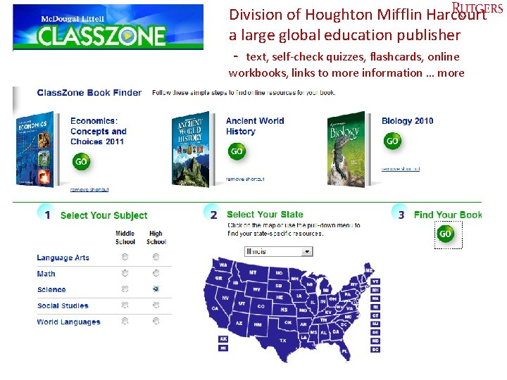Division of Houghton Mifflin Harcourt a large global education publisher - text, self-check quizzes,
