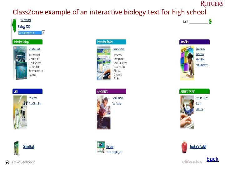 Class. Zone example of an interactive biology text for high school Tefko Saracevic back