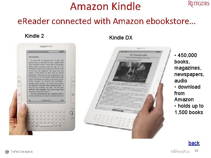 Amazon Kindle e. Reader connected with Amazon ebookstore… Kindle 2 Kindle DX • 450,